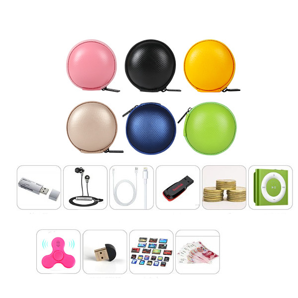 PU Box Storage Packing Case for Finger Spinner Data Cable Charger Earphone Money Cash