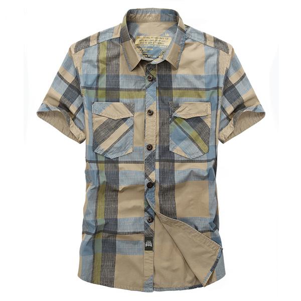 Mens Cotton Loose Summer Plaid Printing Pocket Casual Shirt