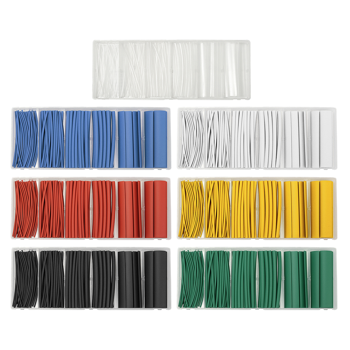 100 PCS Halogen-Free 2:1 Heat Shrink Tubing Wire Cable Sleeving 6 Size 7Colors