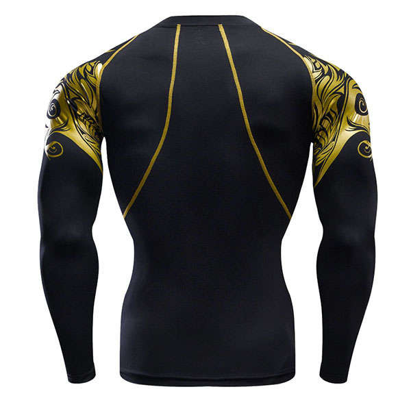 Mens Movement Speed Dry T-shirt Fitting Long Sleeved Elastic Training Workout Sport Tops