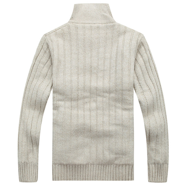 Mens Casual Thick Fleece Sweater Stand Collar Zippered Knit Cardigan Sweater