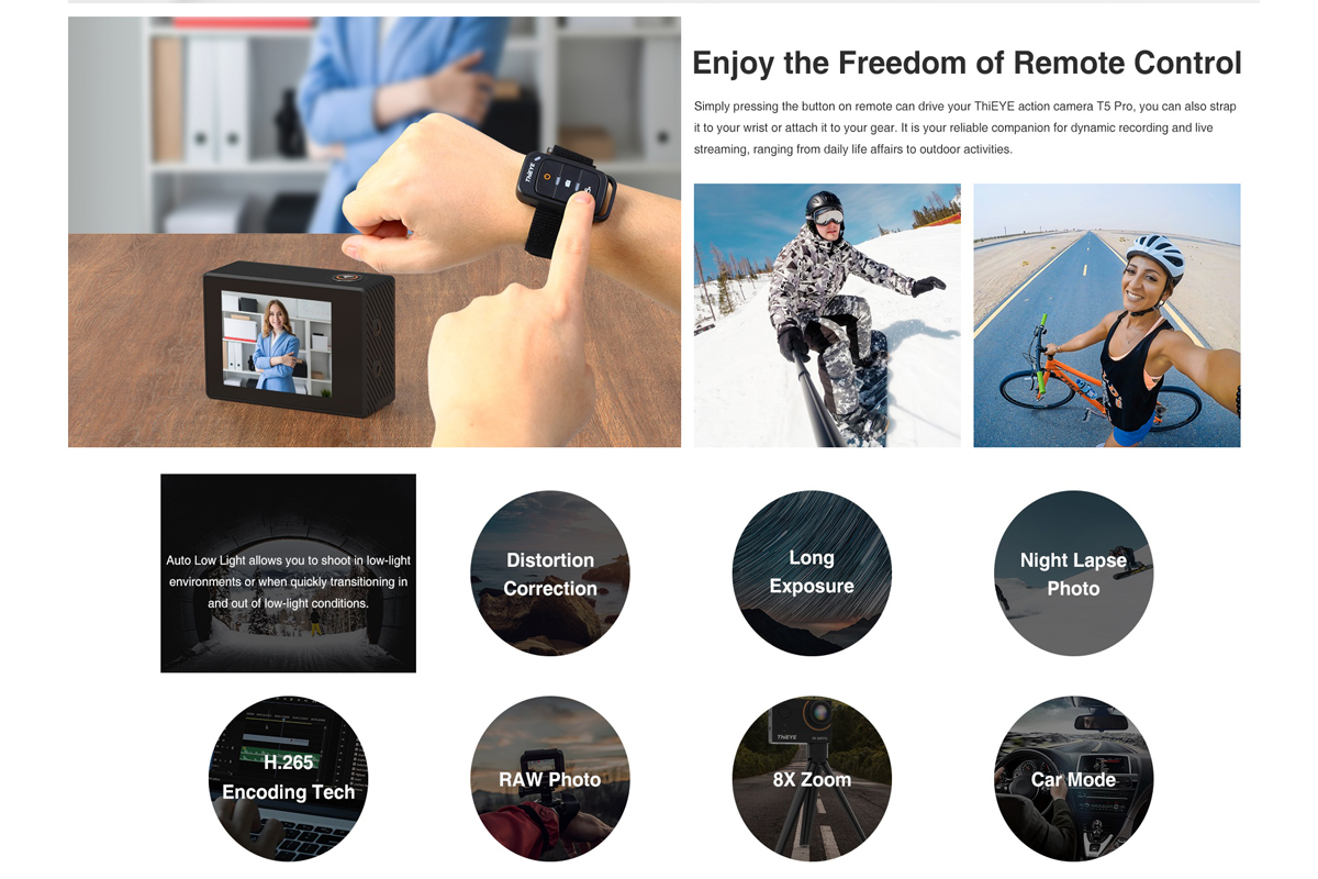 ThiEYE T5 Pro 4K 60FPS 20MP Ultra HD Touch Screen Live Stream WiFi Stabilizer EIS Remote Control Waterproof Sport Action Camera
