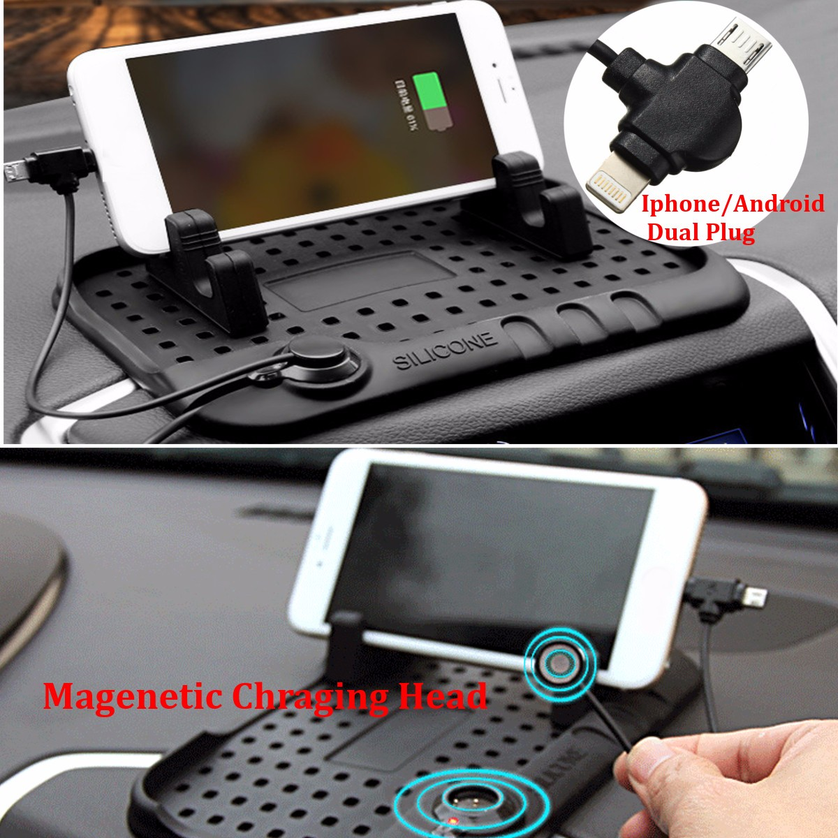 5/10/20PCS Non-Slip Car Micro USB 8Pin Charger Stand Dashboard Mount Holder for iPhone GPS Pad