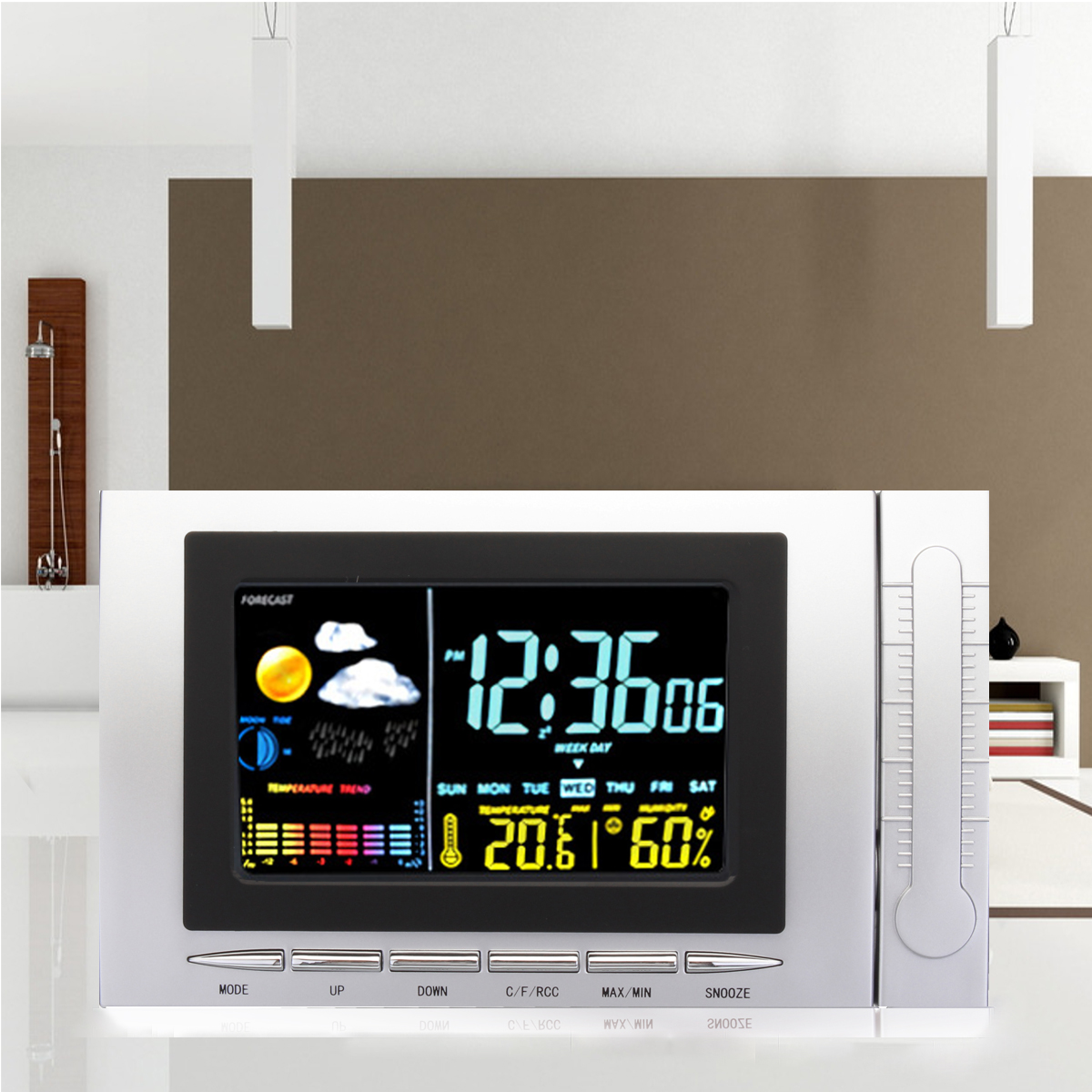Classic Weather Station Alarm Clock Color Screen Backlight Temperature Display