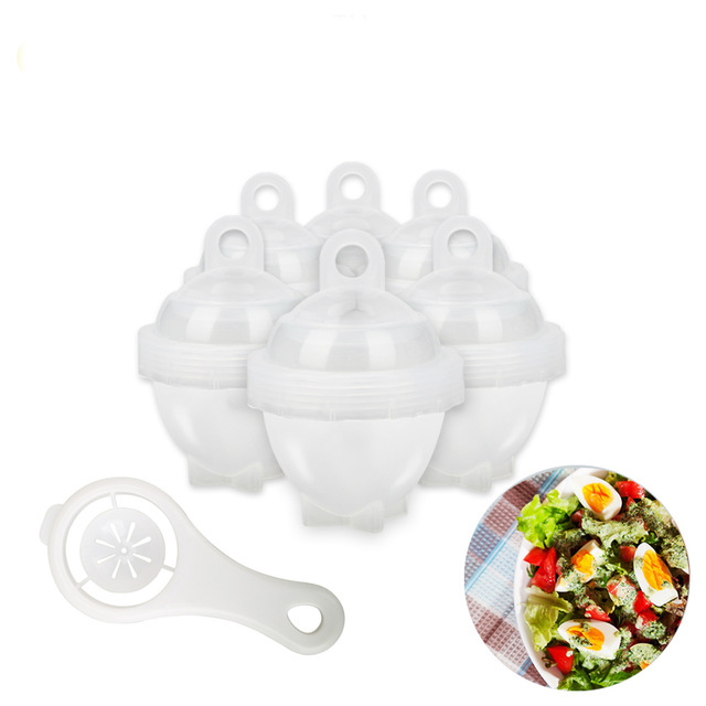 7Pcs / Set Hard Boil Egg Cooker 6 Egg Boilor Without Shells With Bonus Egg White Separator Eggs Steamer Egg Boiler Cooker Cooking Tools