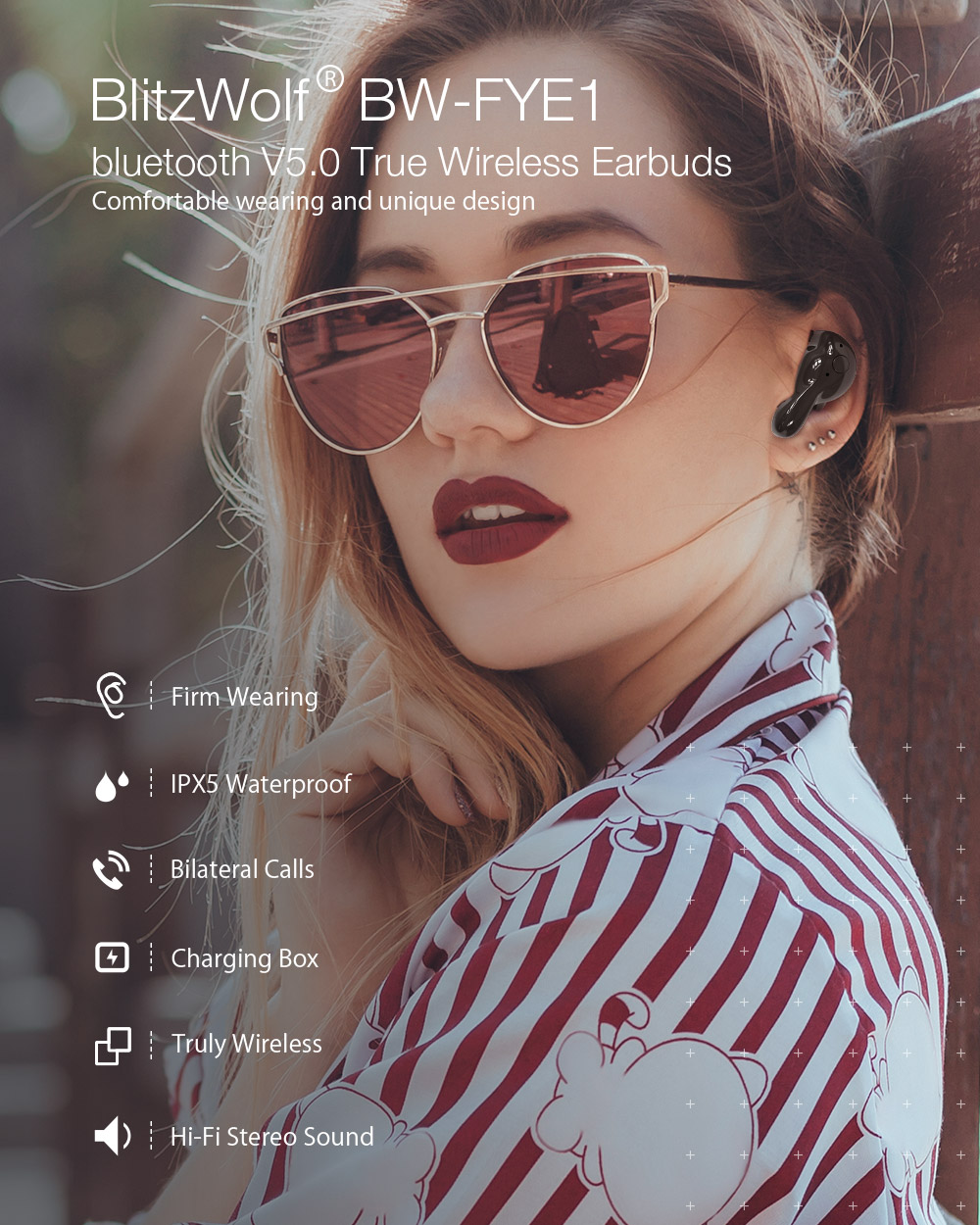 [bluetooth 5.0] Blitzwolf® BW-FYE1 TWS True Wireless Earphone Stereo Headphones with Charging Box