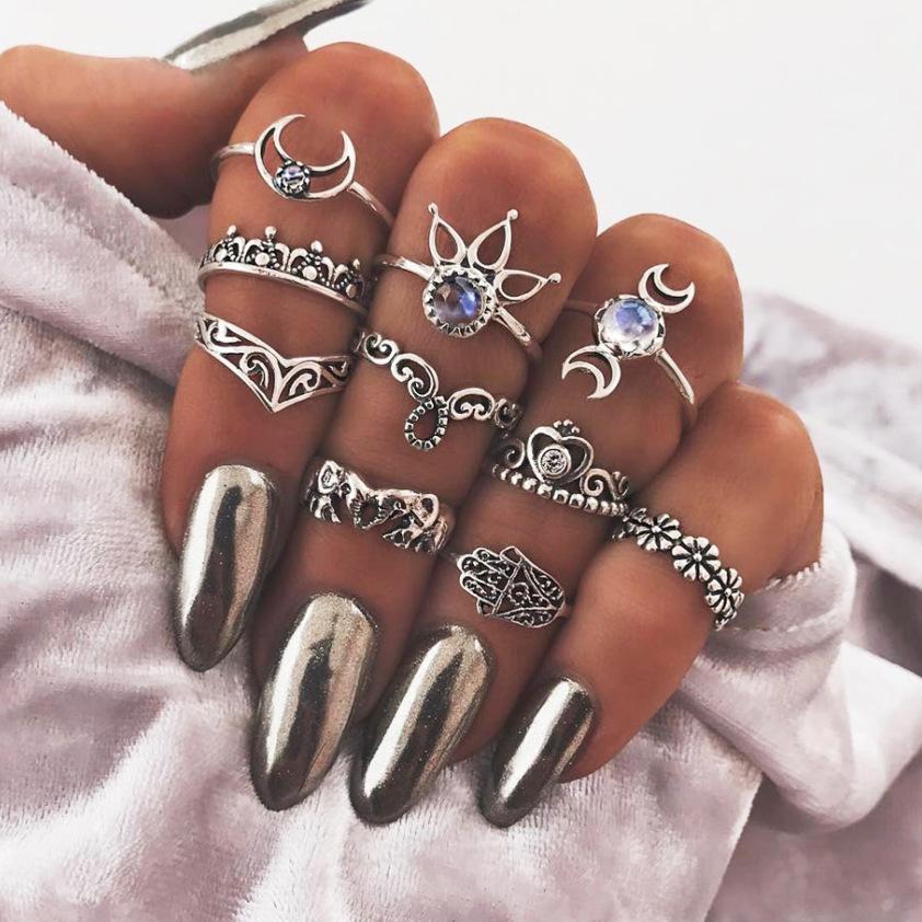 10 Pcs Trendy Statement Crystal Irregular Knuckle Ring Set