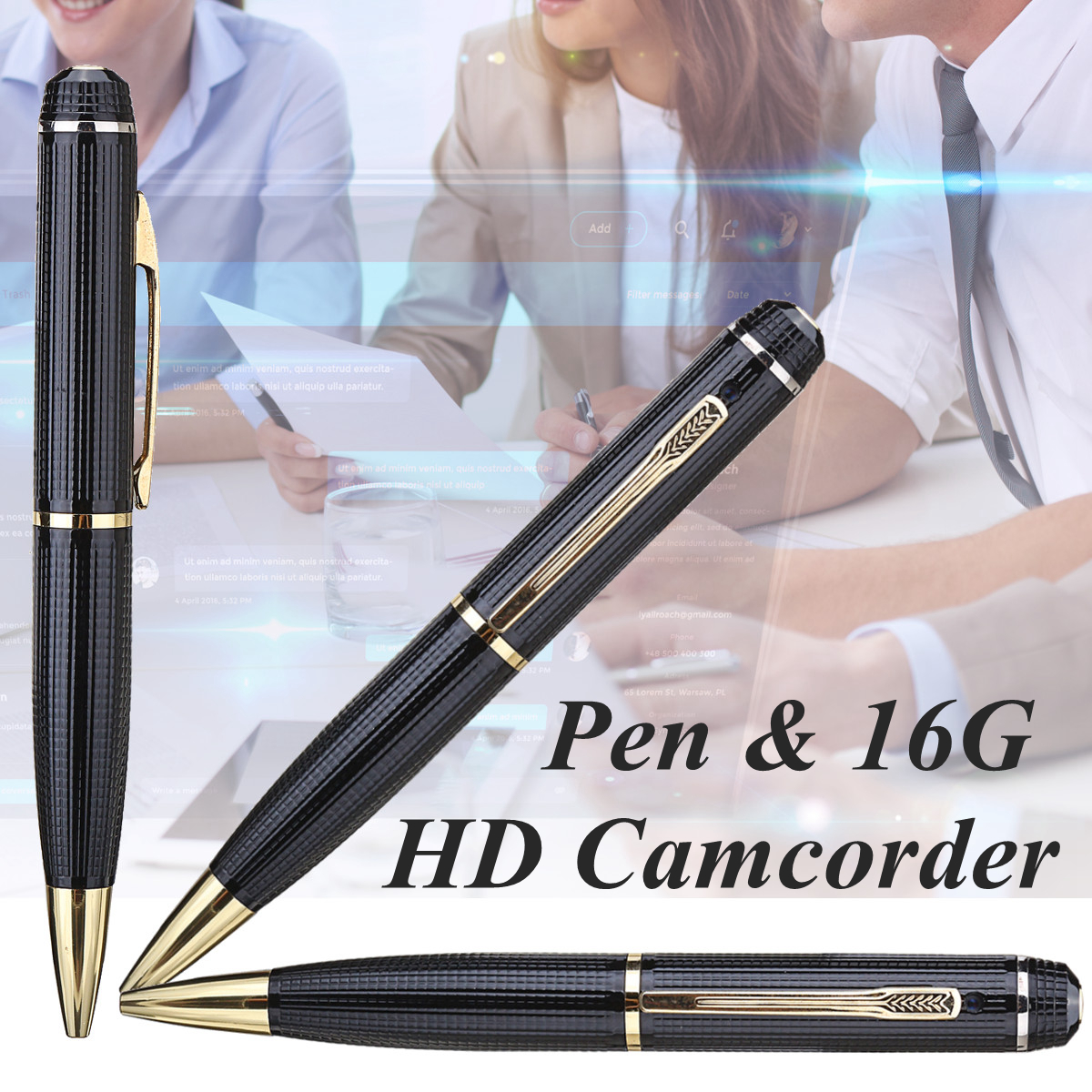 1Pcs 16GB Full 1080p HD Mini Ballpoint Pen USB Camcorder Video Voice Hidden Recorder Camera