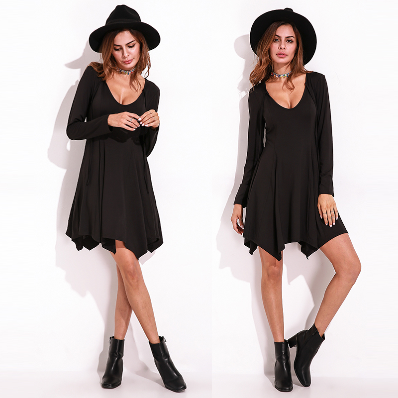 Sexy Women Deep V-Neck Long Sleeve Irregular Hem Slim Mini Dress