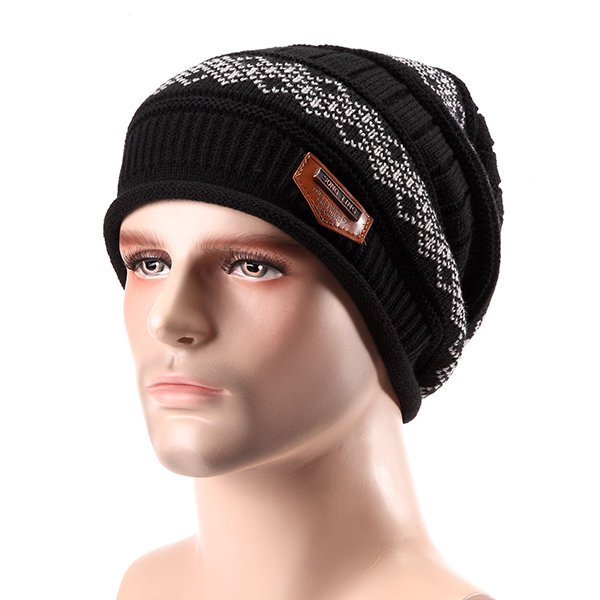 Unisex Knitted Slouch Beanie Hat Coral Fleece Linen Double Layers Elastic Mountaineering Outdooors Cap