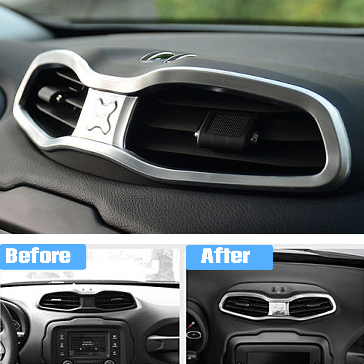 ABS Auto Car Air Outlet Frame Cover Trim Chrome Moulding Trim Strip for Jeep Renegade 2015+