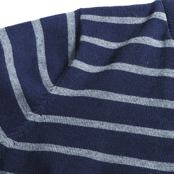 Mens Casual Stripe Button Turn-down Collar Long Sleeve Sweater Pullover Knitwear