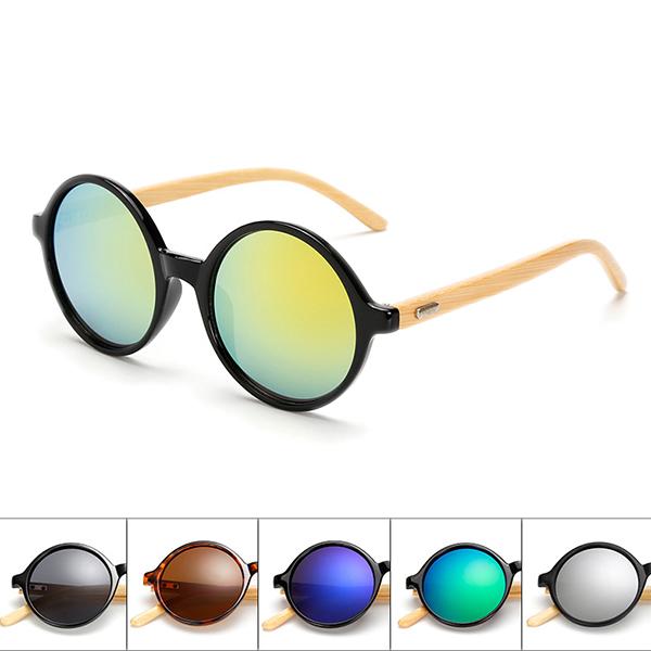 Unisex Vintage Retro Round UV400 Sunglasses Handmade Bamboo Leg Shades Eyewear Glasses