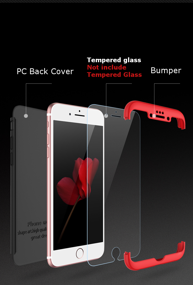 Bakeey™ 3 in 1 Double Dip 360° Full Protection PC Case for iPhone 6/6s 6Plus/6sPlus