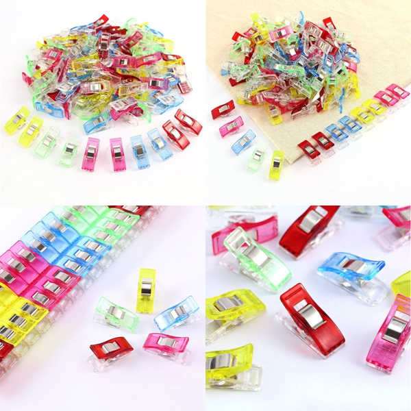 100Pcs Plastic Clips For DIY Patchwork Fabric Quilting Craft Sewing Knitting Home Office Supply