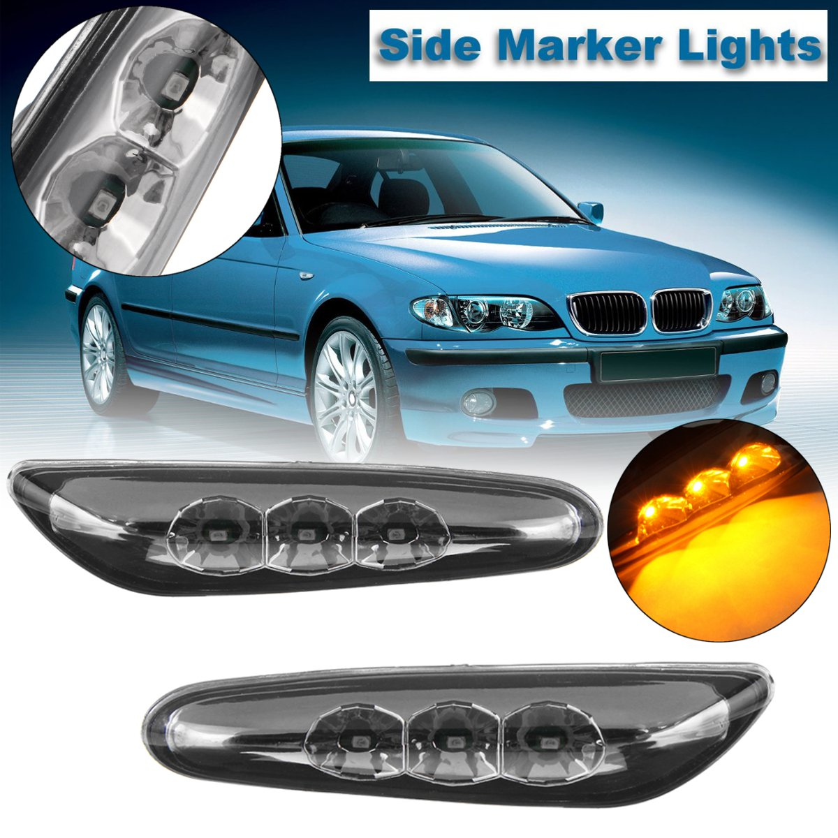 Pair LED Turn Signal Light Side Marker Indicator Lamp for BMW E82 E88 E60 E61 E90 E91 E92 E93