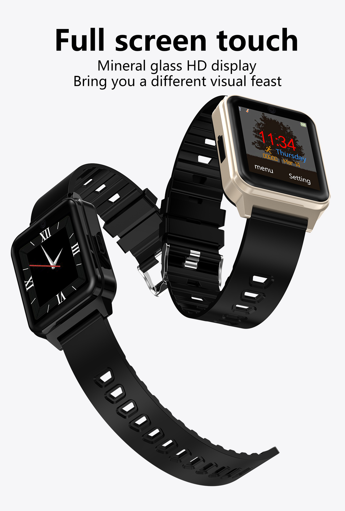 Bakeey L3 Full Touch Screen 32G TF Card Extend Watch Phone 380 Mah Big Battery Business Style Watch