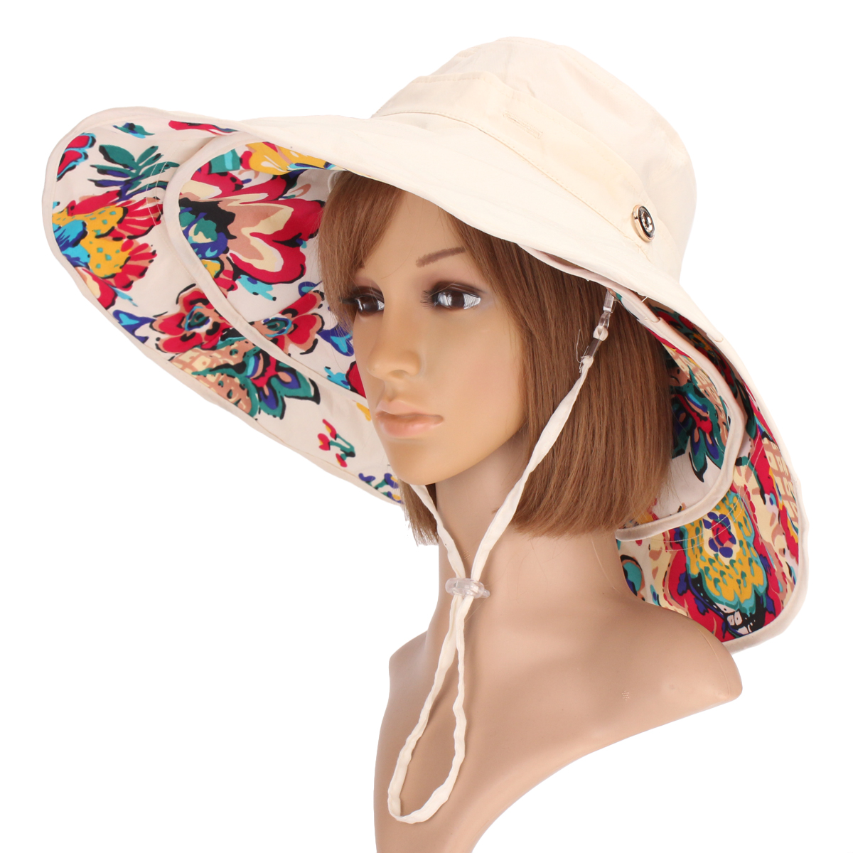 Women Ladies Anti-UV Sun Protective Caps Wide Brim Reversible Floppy Sun Hat Beach