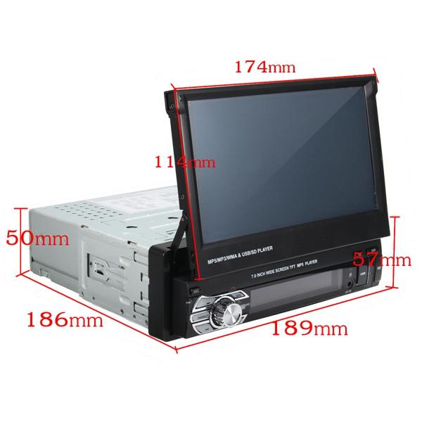 7 Inch Car Stereo Audio MP5 MP4 MP3 DVD Player Bluetooth AUX FM Radio Retractable
