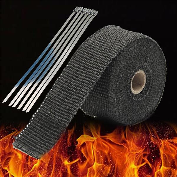 5M Black High Heat Insulation Fiber Glass Wrap Exhaust Header Pipe Tape