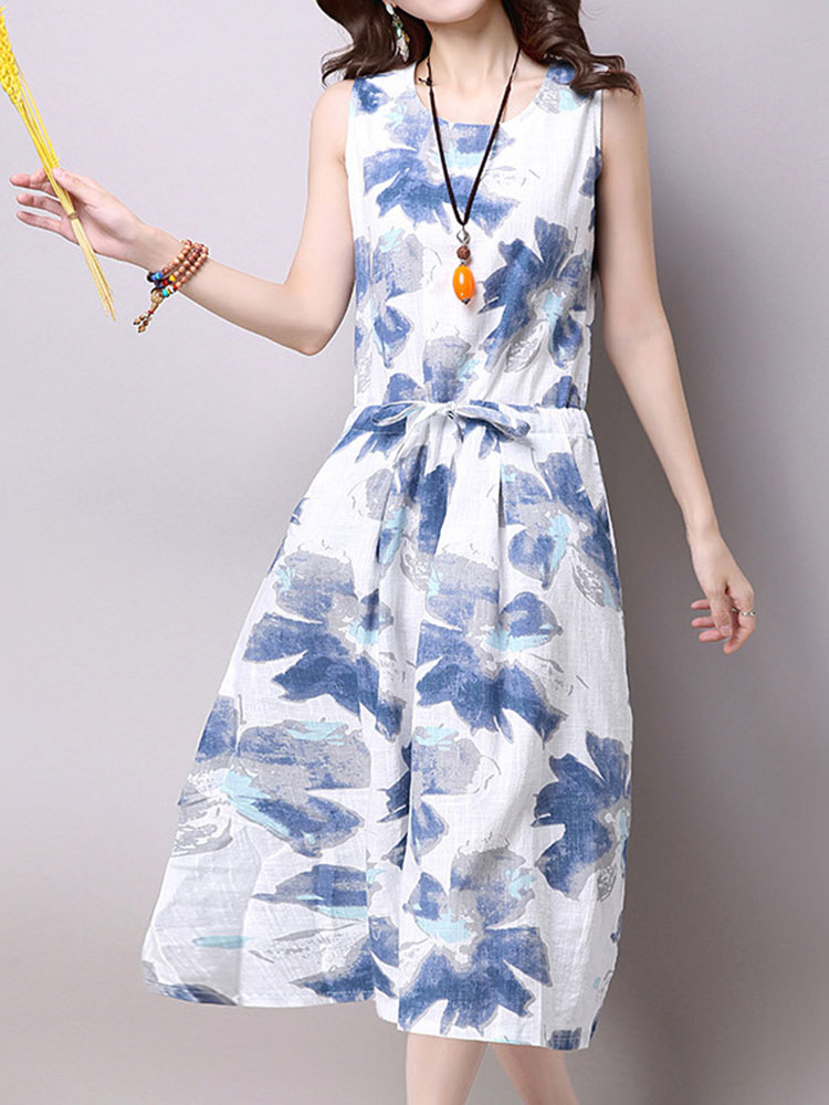 Elegant Women Sleeveless Drawstring Printing Cotton Linen Dress