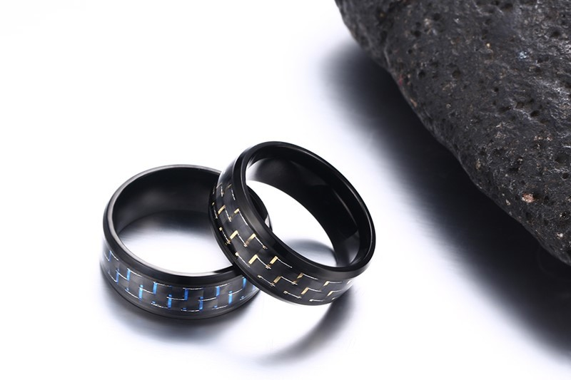 8mm Stainless Steel Carbon Fiber Polished Men Ring Simple Trendy