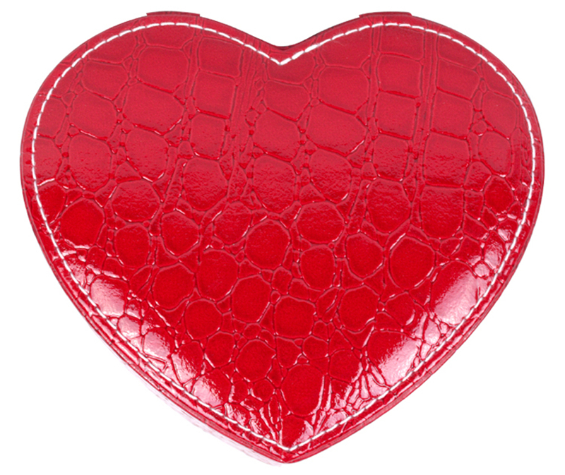 PU Heart Shaped Jewelry Box Double Layers With Mirror
