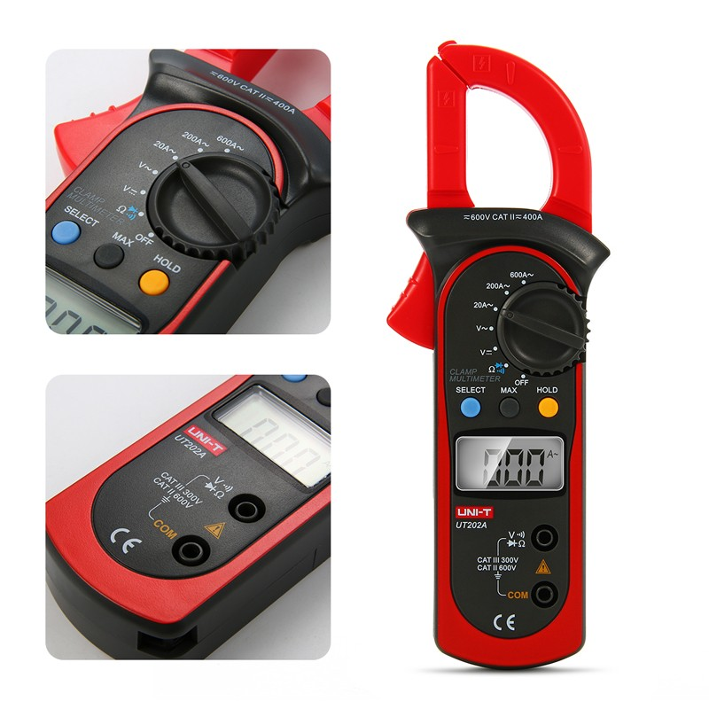 UNI-T UT202A Handheld Digital LCD DC AC Voltage Current Ohm Tester Clamp Meter Multimeter