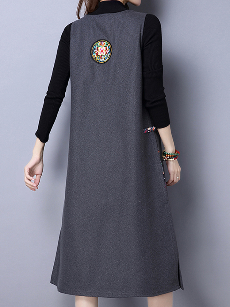 Vintage Embroidery Patchwork Side Split Wool Vest Dress