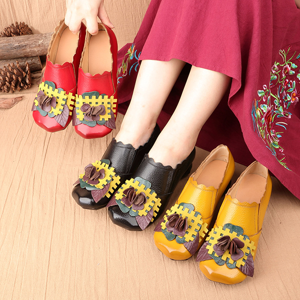 SOCOFY Retro Low Heel Leather Shoes