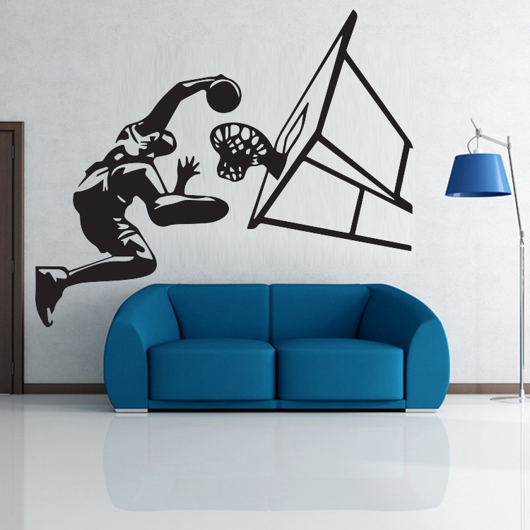 Honana Basketball Player Air Slam Dunk Removable Wall Sticker for Boys Bedroom Sticker Vinyl Decals Sport Room Decoration Basketball Dunk Sports Art Wall Stickers