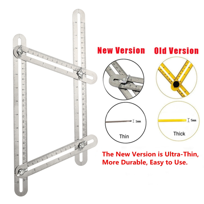 Multi Angle Measuring Ruler Stainless Steel Protractor Template Tool for DIY Crafts Layout