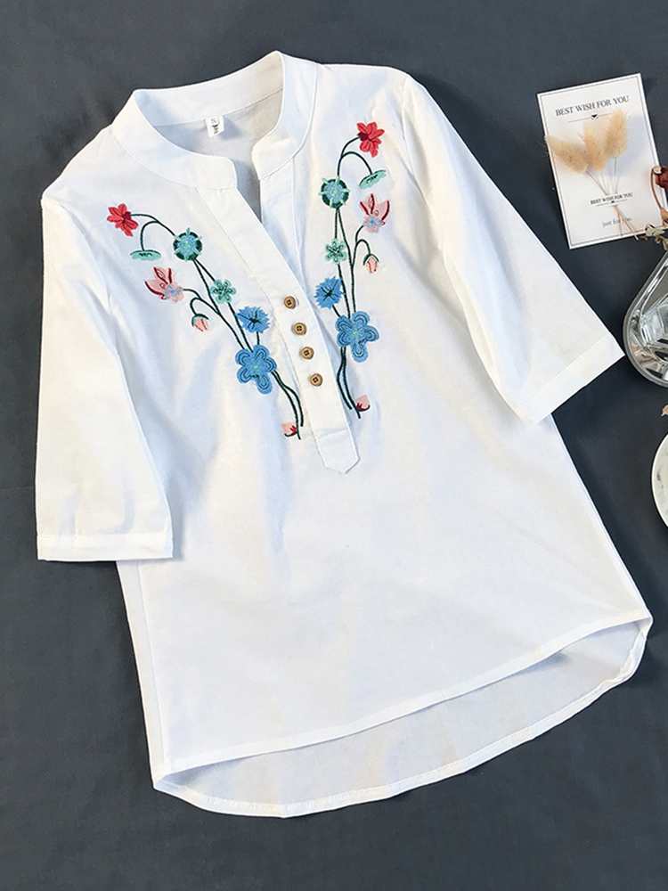Women Cotton Embroidered Stand Collar Half Sleeve Shirts