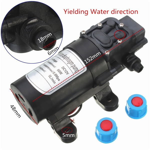 DC 24V 60W 5L/Min Motor High Pressure Micro Diaphragm Water Self Priming Pump
