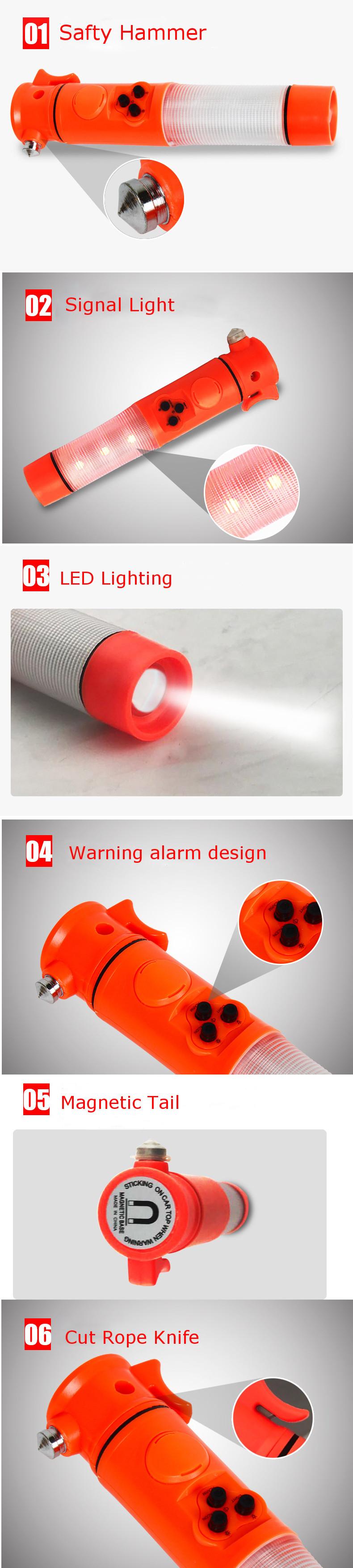 XANES U14 500Lumens Easy Operation Magnetic Head LED Flashlight & Signal Light with Alarm & Safety Hammer & Cut Rope Knife