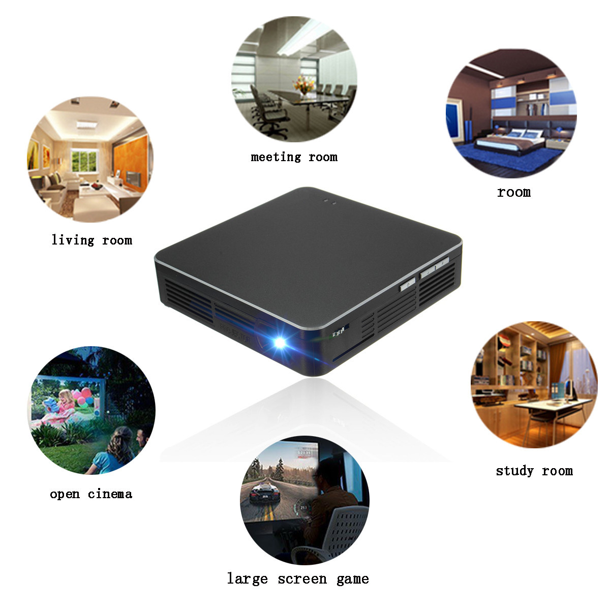Mini LED HD DLP Portable Projector Smart Home Theater Cinema Movie Video