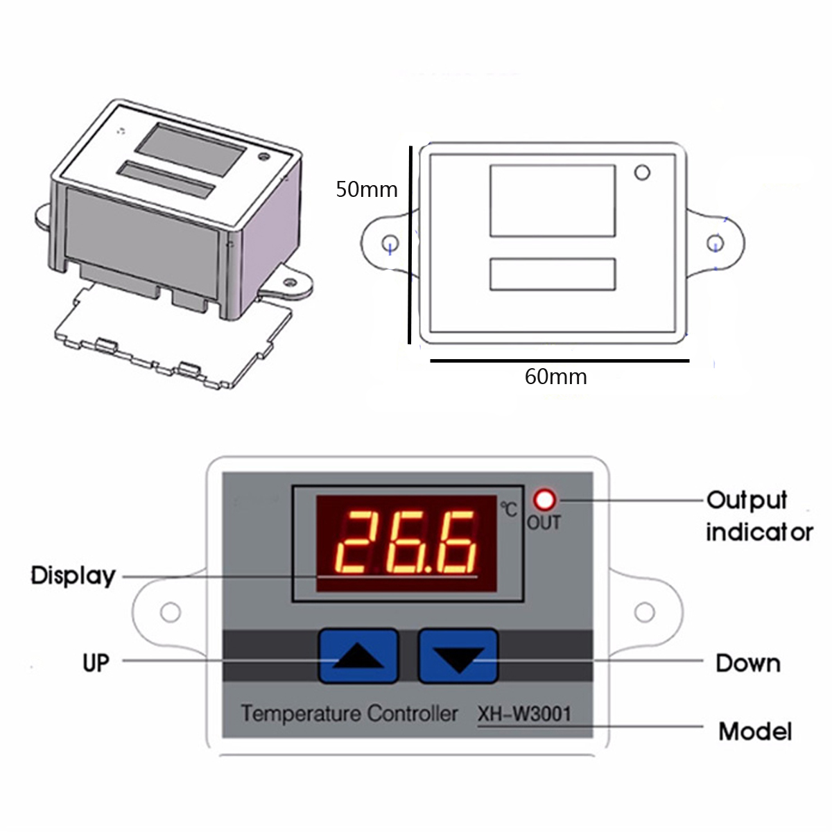 24V 240W Digital Control Temperature Microcomputer Thermostat Switch Controller