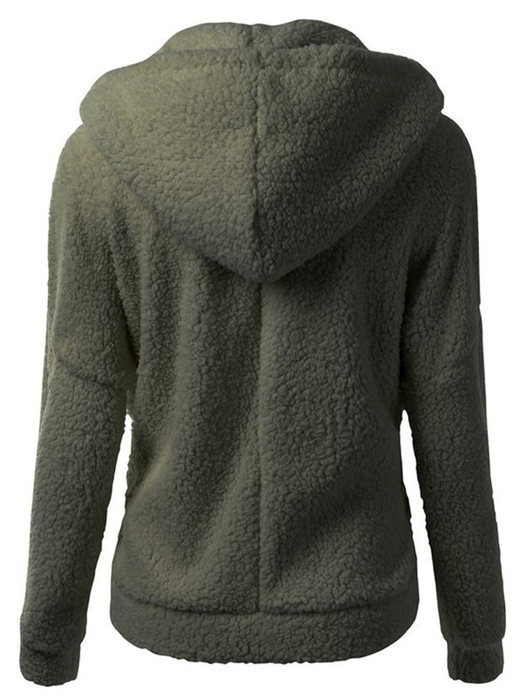 Women Casual Fleece Warm Winter Hooded Coat