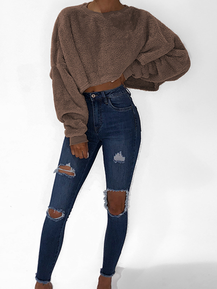 Women Loose Round Neck Solid Color Long Sleeve Sweaters