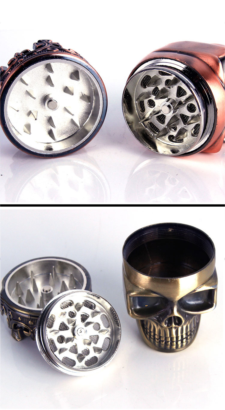 Honana NB-CR010 Skull Four Piece Tobacco Herb Grinder Metal Spice Crusher Alloy Pollen Catcher