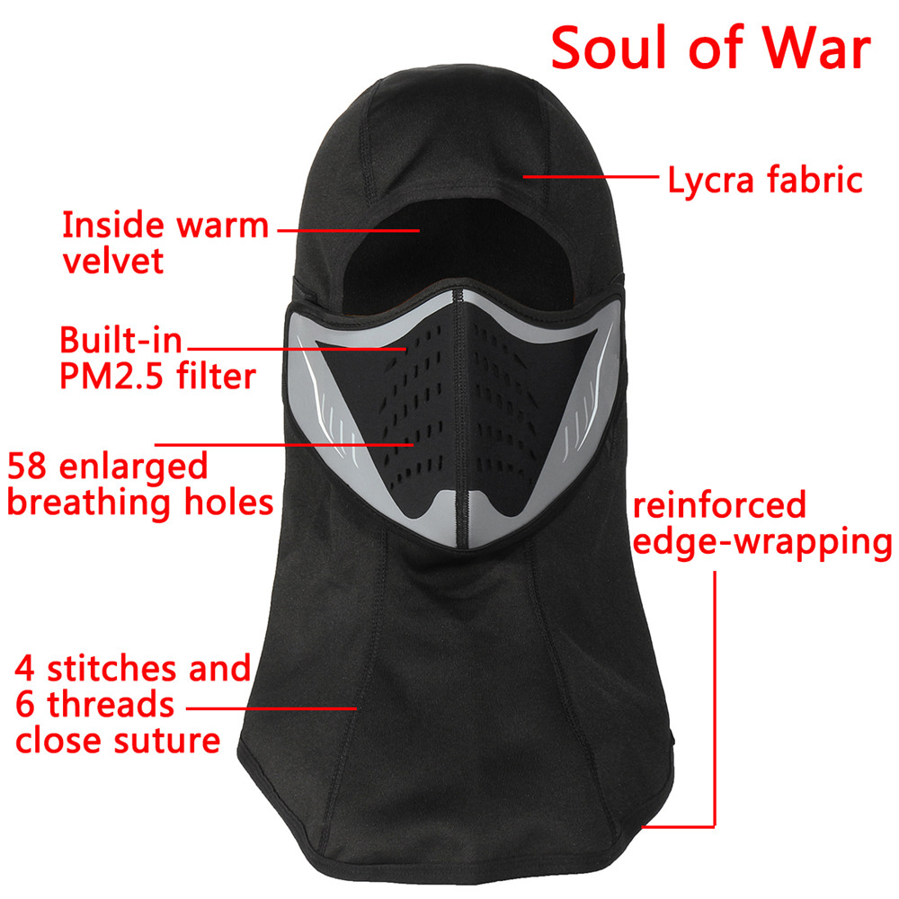Motorcycle Winter Full Face Guard Riding Mask Wind-proof Breathable Haze Mask