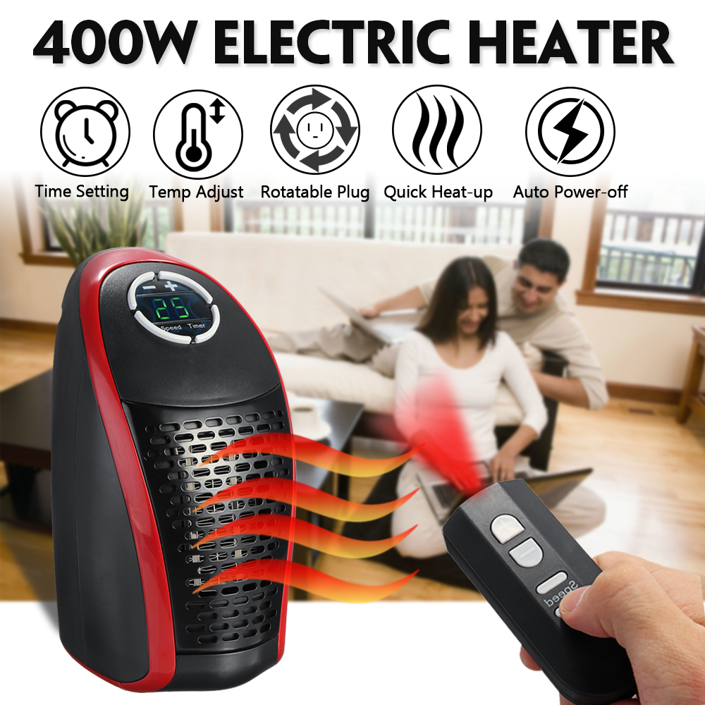 110-240V 400W Electric Wall Outlet Warm Heater Instantly Heating Adjustable with Romote Controller