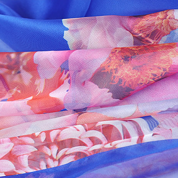 Women Summer Silk Floral Beach Towel Soft Long Sunscreen Scarf Shawl
