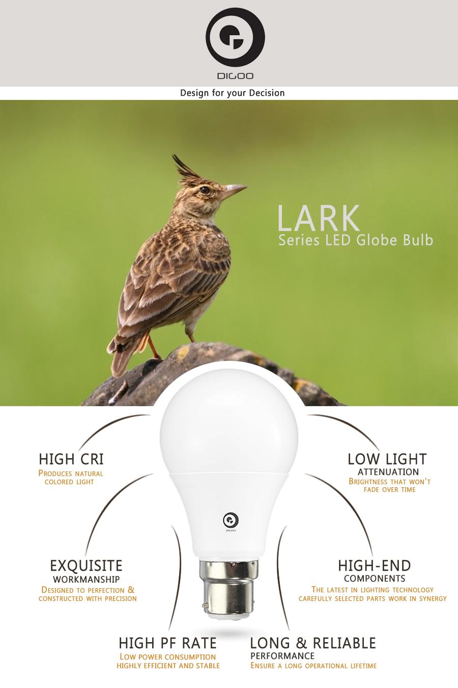 1X 5X 10X Digoo Lark Series Wholesale LED B22 High PF 3W 5W LED Globe Bulb AC85-265V