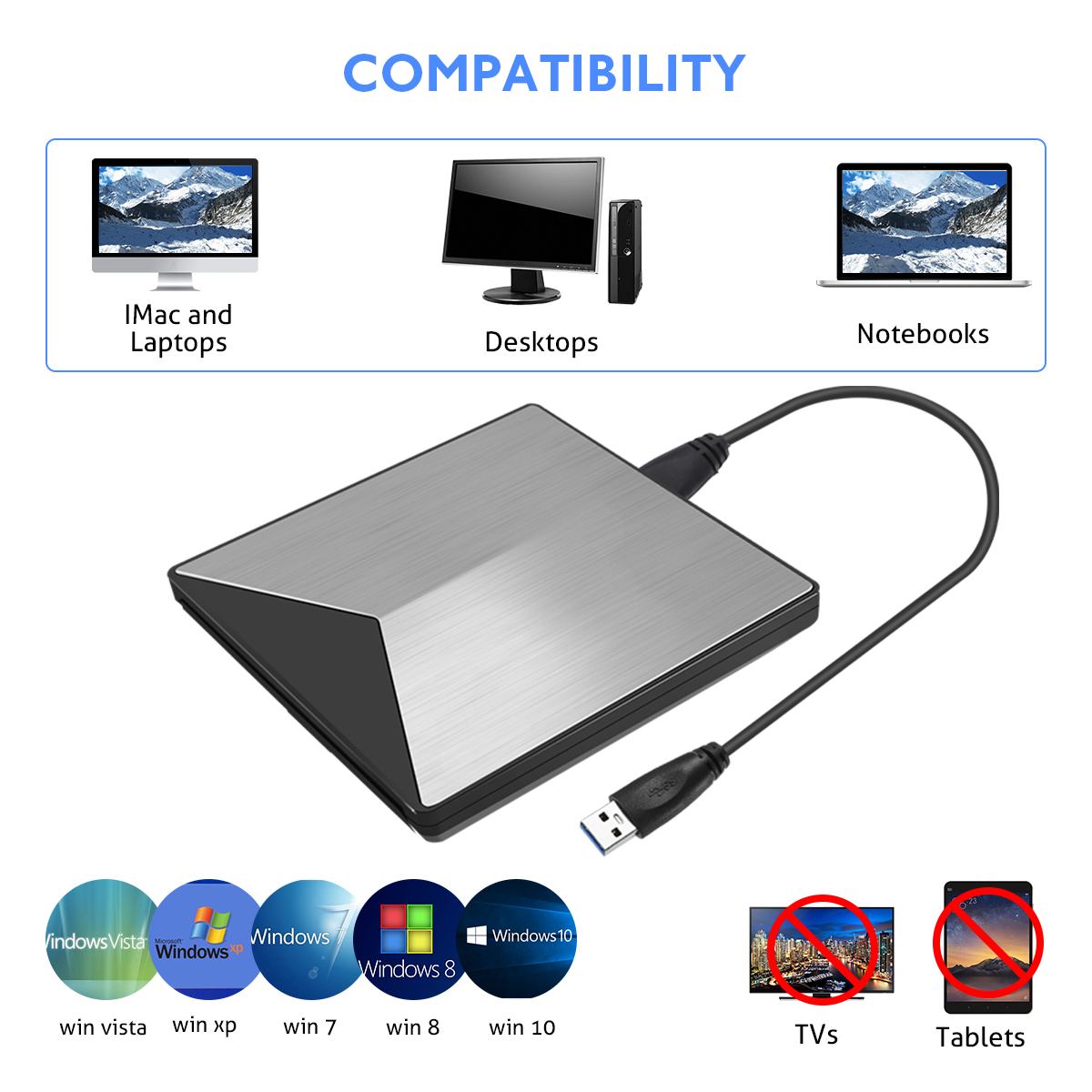 Aluminum Alloy USB 3.0 External Optical Drive CD DVD Player Burner