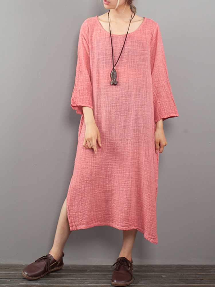 M-5XL Casual Women Pure Color Loose Dress
