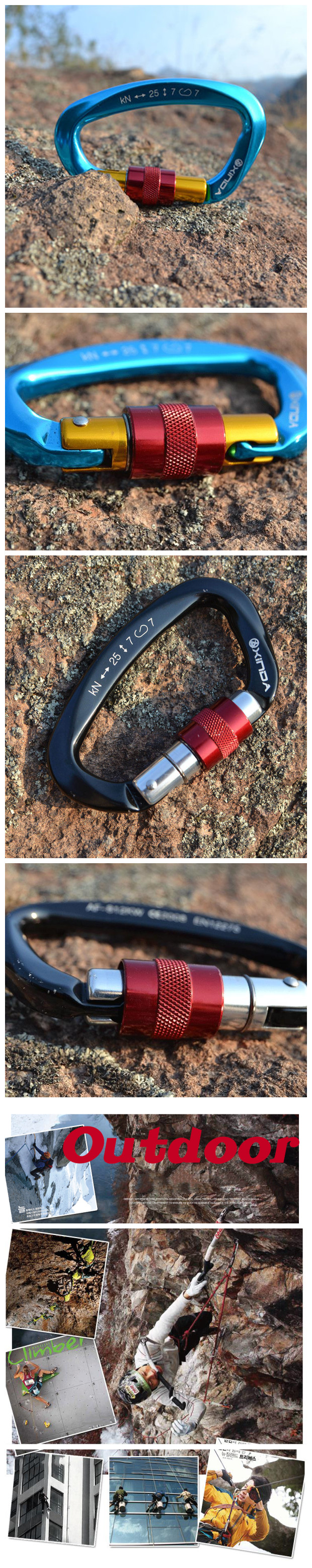 Xinda Camping Main Lock Carabiner Safety Buckle For Mountaineering Rock Climbing Alloy D-shaped
