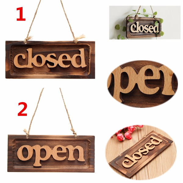 Zakka Wood OPEN CLOSE Sign Bar Cafe Shop Store Door Window Hanging Sign