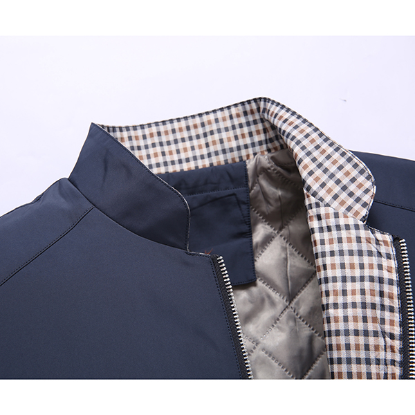Winter Mens Plus Thick Casual Business Stand Collar Pure Color Jacket Coat