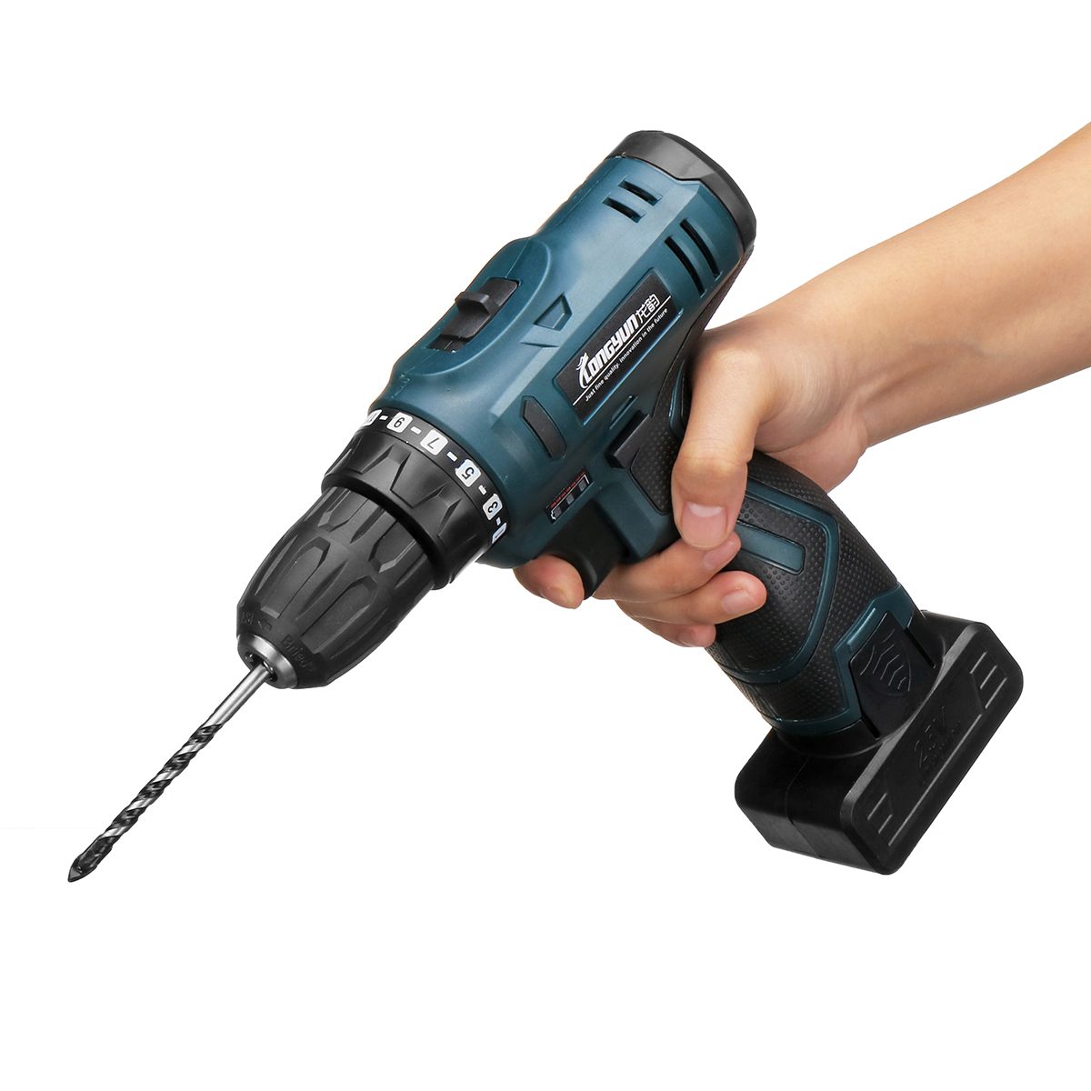 25V LED Light Cordless Power Drill Dual Speed Li-ion Battery Electric Screwdriver Waterproof Motor Fast Charging